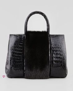 Nancy Gonzalez Mink Fur Crocodile Tote Bag, FW2013
