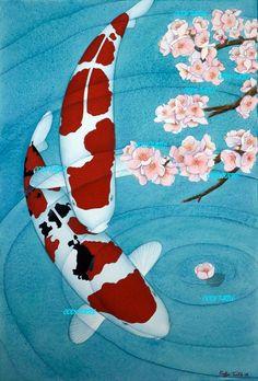 Koi fish and a cherry blossom. I love koi fish. Japanese Koi, Japanese Prints, Japanese Dragon, Koi Art, Fish Art, Watercolor Koi, Watercolor Paintings, Mermaid Paintings, Koi Kunst