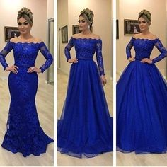 off shoulder royal blue prom Blue Lace Prom Dress, Royal Blue Prom Dresses, Prom Dresses Long With Sleeves, Ball Dresses, Evening Dresses, Formal Dresses, Long Purple Dress, Royal Blue Color Dress, Quinceanera Dresses