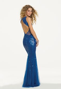 Camille La Vie Sequin Mesh Cutout Prom Dress with Open Back Detail