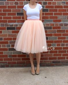 Claire Soft Blush Peach Tulle Skirt – Below Knee Midi