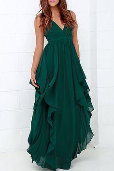 Women's Plunging Neck Pure Color Chiffon Dress