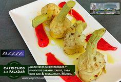 Mira que tapa puedes degustar en el Blue bar & Restaurant, ubicado en C/ Pintor Aurelio Perez, 11 , en Murcia, Tel 968 712 177. Tapa : Alcachofas Mediterráneas y Pimientos Caramelizados de Caprichos