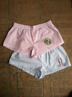 Monogram Pajama Shorts Boxers by JuneFirstDesigns on Etsy