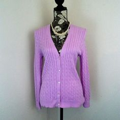 Lands End Womens Sweater Cardigan Medium 10 12 Cable Knit Lavender Purple Button #LandsEnd #Cardigan