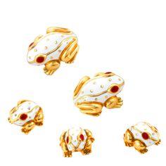 1stdibs | Gold and White Enamel Frog Dress Set by David Webb