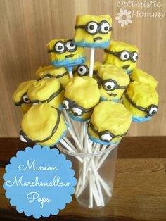 Despicable Me - Minion Marshmallow Pops - Optimistic Mommy