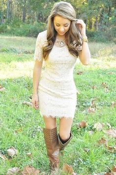 cowboy boots, blonde and a cute white dress | Fashion | Pinterest ...