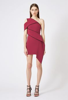 Alaina One Shoulder Mini Dress - Magenta / Black