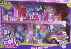 """Polly Pocket Glitz & Glam Pets Superset 3 Sets in 1 w 47+ Pieces (2007) by Mattel. $89.99. Includes 47+ Pieces w/4 Dolls w/combable hair (Polly, Rick, Lea & Lila) each doll approx. 3-1/2"""" tall, 9 Sparklin' Pets (Dogs, Cats, Horse, Monkey), Armoire, Glam-Mobile Vehicle (Car), Sink w/Sprayer & Mirror, Sofa, Saddle for Horse, Clothes & Glittery Fashions for Dolls & Pets, Purses, Shoes, Boots, Hair Brush, Scissors, & other Accessories.. Polly Pocket Glitz & Glam Pets ... Disney Princess Room, Disney Princess Fashion, Doll Clothes Barbie, Barbie Dolls, Toddler Toys, Kids Toys, Elsa Halloween Costume, Polly Pocket World, Minnie Mouse Toys"""