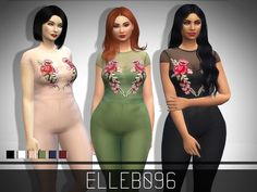 The Sims Resource: Rose Embroidered Jumpsuit by Elleb096 • Sims 4 Downloads