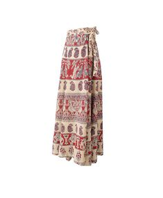Vintage 1970s boho wrap around India cotton gauze maxi skirt with an ethnic boho of elephants, fighting warriors, birds, and paisley in dark red and blue on a beige background.  The skirt has a high waist and an A-line silhouette. I have several of these skirts for sale so there may
