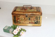 Vintage/Antique Biscuit Tin with Handle by LookBackSalvintage