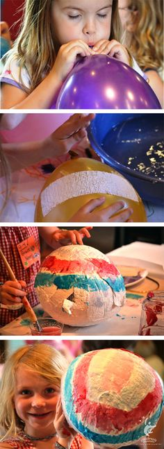 Paper Mache Eggs or Lanterns: You can use a mixture of glue and water to stick newspaper or tissue paper to a balloon!  Don't forget to let the paper harden overnight before you begin painting!  Then pop the balloon!