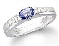 Diamond Tanzanite Rings - 14K White Gold Trillion cut Tanzanite and Diamond Ring