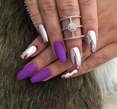 Purple & chrome nails By riyathai87