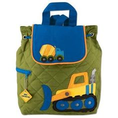 Stephen Joseph Construction Monogrammed Quilted Backpack for Boys