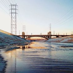 """The Most Instagrammed L.A. Landmarks #refinery29  http://www.refinery29.com/popular-los-angeles-landmark-photos#slide-8  Los Angeles River Fancy a dip in the grime-caked waters of the Los Angeles River? No? Well, swap your bathing suit for your iPhone and admire from a distance, because the drought-besieged landmark makes for one heck of a pretty picture. (And, a cool car-race scene.) <a href=""""http:/..."""