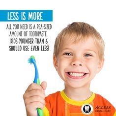 All you need is a pea-sized amount of toothpaste. Kids younger than 6 should use even less! Dentistry For Kids, Family Dentistry, Oral Health, Dental Health, Best Teeth Whitening Kit, Dental Humor, Dental Hygiene, Dental Art, Cosmetic Dentistry