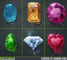 Brilliant Blender, Unity, and Concept Art tutorials for animation artists and game developers. Gem Drawing, Gem Tattoo, Concept Art Tutorial, 2d Game Art, Game Gem, Gem Diamonds, Mobile Art, Game Icon, Magic Art