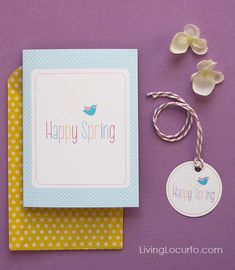 Happy Spring Free Printable Card & Gift Tags by Amy Locurto LivingLocurto.com