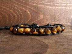 Golden Tigers Eye Leather Cuff Bracelet by Modern Philosophy, $40.00