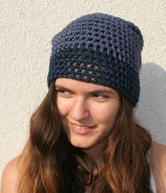 Womens  Mens hat  Blue hat // Crochet hat Cotton  by EllenaKnits, $34.00