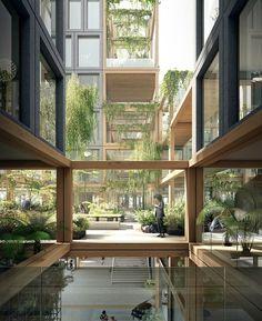 Dynamic urban design in Amsterdam. Plan rebel design by Studioninedots + Delva Landscape Architecture Architecture Design Concept, Green Architecture, Futuristic Architecture, Sustainable Architecture, Sustainable Design, Classical Architecture, Ancient Architecture, Contemporary Architecture, Condominium Architecture