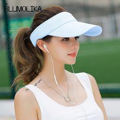 0ae4e1ad21e Long Peak Dívka Topless Tenisové Čepice Černá Růžová Bílá Barva Slunce  Klobouky pro ženy Letní Sport