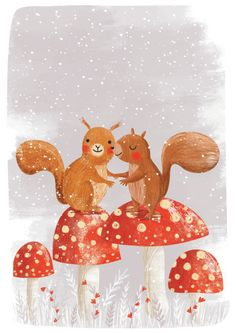 Gina Lorena Maldonado - Squirrels On Mushrooms - GM