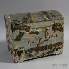 Wallpaper-covered Wooden Dome-top Box, possibly Massachusetts, early 19th century, the wallpapered exterior depicting a hunting scene on a l...