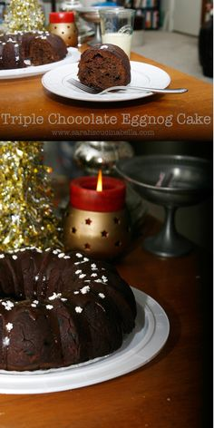 Triple Chocolate Eggnog Bundt Cake is a decadent, chocolate filled dessert perfect for the holidays.