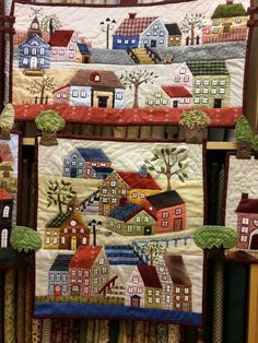 Quilt , Patchwork by Susana Cano Padilla Great ideas for village design House Quilt Patterns, House Quilt Block, House Quilts, Applique Patterns, Applique Quilts, Quilt Blocks, Mini Quilts, Small Quilts, Colchas Country