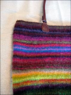 Noro Kureyon Felted Scraps Tote Bag with Leather Handles