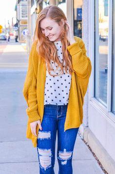Mustard Detail Cardigan | Poppy Avenue Boutique