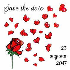 Save the date rozen Witte kaart met een rode roos met vliegende blaadjes en een paar rode hartjes.  #savethedate #hartjes #rozen #liefde #trouwen #kaartje2go