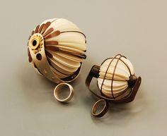 Tarina Frank Ring: Paper Fan Rings, 2011 Paper, brass, silver, copper