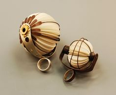 Tarina Frank Ring: Paper Fan Rings, 2011 Paper, brass, silver, copper