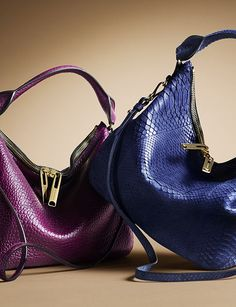 Effortless bags in magenta and regency blue from the Burberry A/W13 accessories collection