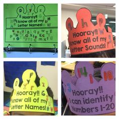 Kindergarten learning goal crowns. Included for letter names, letter sounds, shapes, counting, number identification and sight words. Great for student goal setting and data tracking.