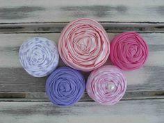 Prissy fabric rosettes by sugarsugarhigh on Etsy, $8.50