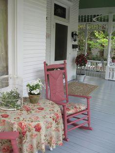 Must do — Paint the Front Porch Rocker! Cottage Porch, Home Porch, Rose Cottage, Cottage Style, Outdoor Spaces, Outdoor Living, Outdoor Decor, Decks And Porches, Front Porches