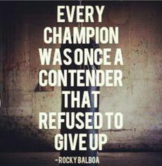 A true Champion..winner's mentality
