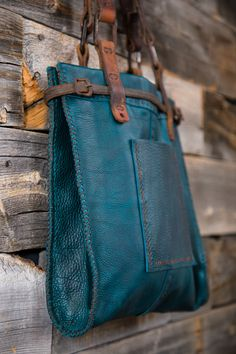 CIBADO leather bags Entirely hand sewn teal buffalo leather tote incorporating vintage horse tack to become handles and decorative detail.-SR