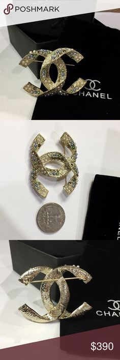CHANEL Brooch Be among the first in the world to wear this stunning CHANEL style brooch with gold color edges. Elegant size.   From daily wear to entertaining and weddings. Can be used on your jacket, sweater, hat, belt, bag, scarf, etc.   Very glamorous and sophisticated!    Nice gift for yourself or someone! This CHANEL style pin brooch, brand new, and unused. And in perfect condition as all CHANEL style items. CHANEL Jewelry Brooches