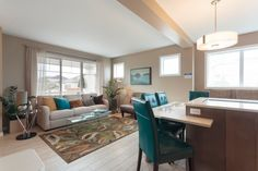 We love the open concept of this space! New Home Builders, Open Concept, Corner Desk, New Homes, Space, Furniture, Home Decor, Floor Space, Homemade Home Decor