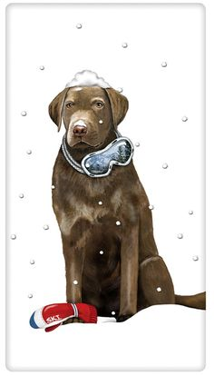 FLOUR SACK KITCHEN DISH TOWEL CHRISTMAS CHOCOLATE LAB DOG MARY LAKE THOMPSON #MaryLakeThompson