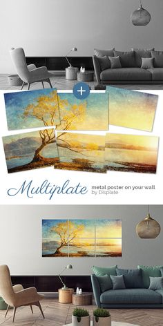 """Golden Landscape"" as a Multiplate. Large size metal artwork to make your home cosy and sweet. Click through to see more similar posters on metal!"