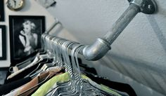 A touch of Luxe: DIY clothing rack in the ceiling...
