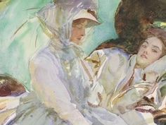 John Singer Sargent, Reading, 1911, the Hayden Collection. Watercolor and wax resist over graphite on paper.